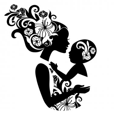 Beautiful mother silhouette with baby in a sling. Floral illustration stock vector