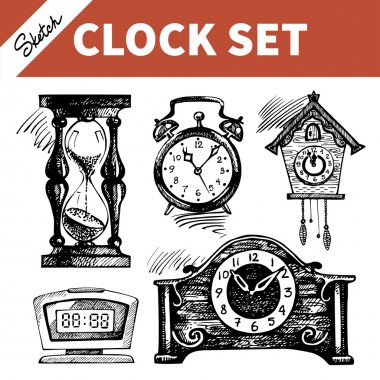 Hand drawn sketch set of clocks and watches