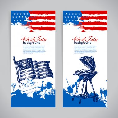 4th July backgrounds with American flag.