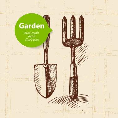 Vintage sketch garden background.