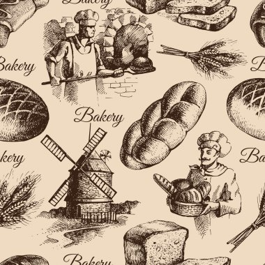 Bakery sketch seamless pattern.