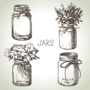 Rustic, mason and canning jars  set.