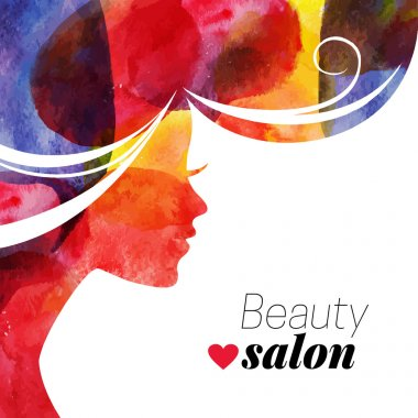 Waterсolor beautiful girl. Vector illustration of woman beauty salon clip art vector