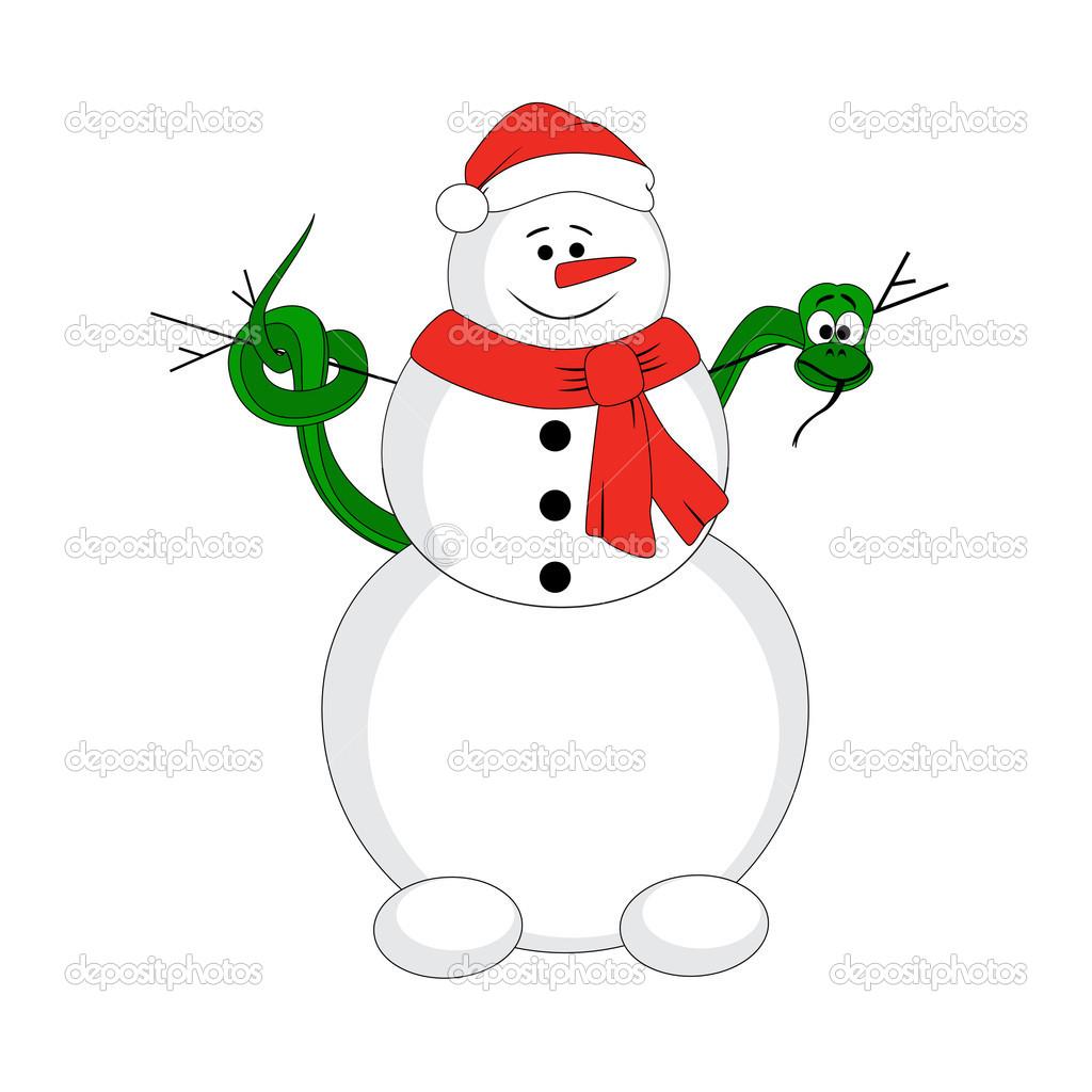 Schneemann mit Weihnachten Schlange — Stockvektor © karandaev #15734725