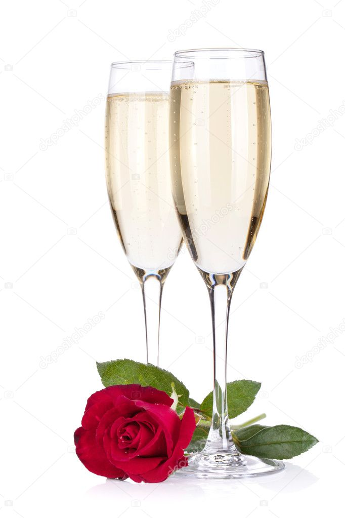Due Bicchieri Di Champagne E Rose Foto Stock Karandaev
