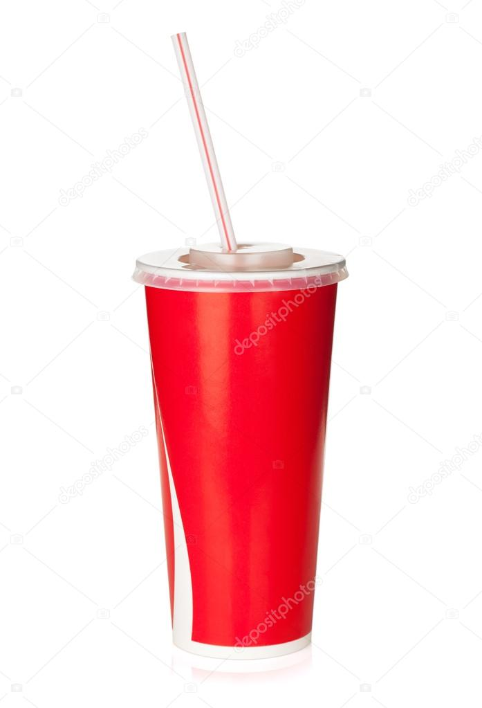 Red disposable cup with drinking straw