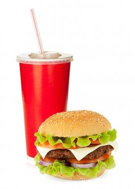 Fast food drink and hamburger