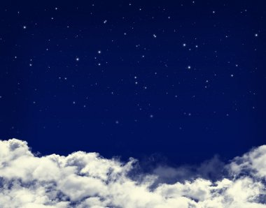 Clouds and stars in a night sky