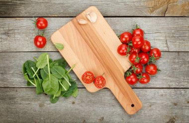 Cherry tomatoes on wooden table