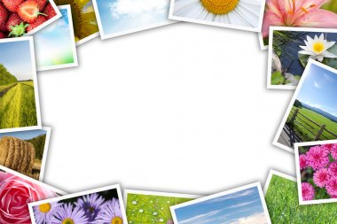 Stack of printed pictures collage with copy space for your text or photo stock vector