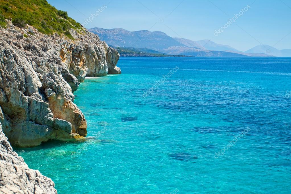 Rocky Adriatic coast with a clear blue sea