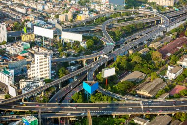 Aerial view of Bangkok city roads and traffic, Thailand