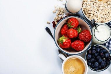 Healthy breakfast - yogurt with muesli and berries - health and diet concept stock vector