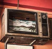 A régi Tv-val egy törött képernyő