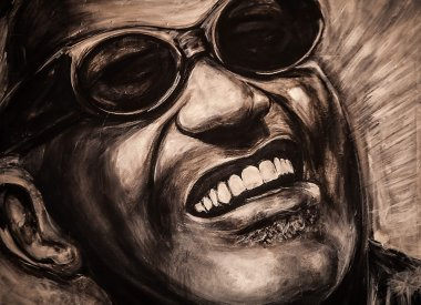 Portrait of a famous musiciant Ray Charles