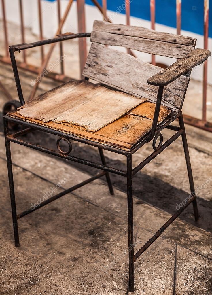 Single Old Broken Wooden Chair Stock Photo 23607549