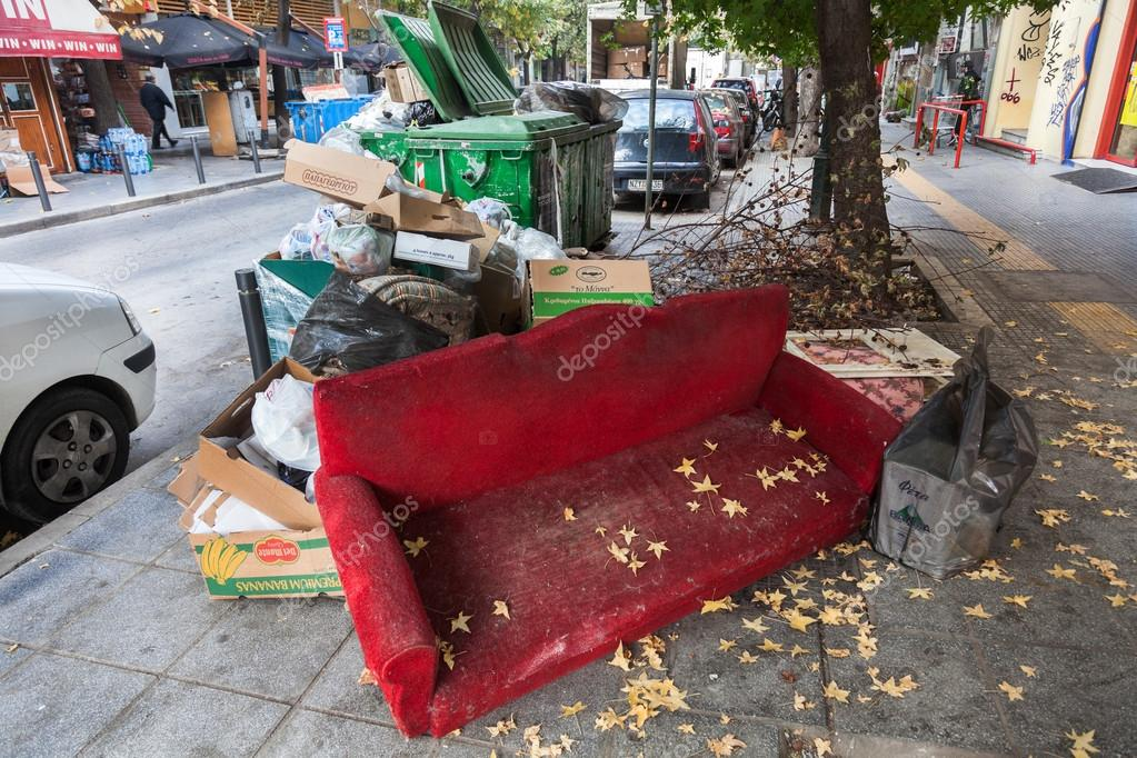 Piles of garbage in the center of Thessaloniki - Greece