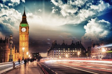 Beautiful colors of Big Ben from Westminster Bridge at Sunset - London. stock vector