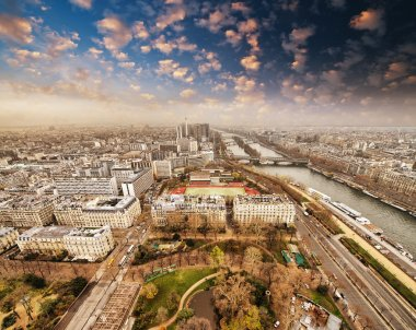 Wonderful aerial view of Paris from the top of Eiffel Tower - Wi