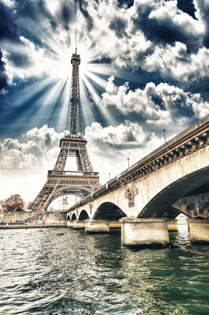 Paris - Beautiful view of Eiffel Tower and Iena Bridge