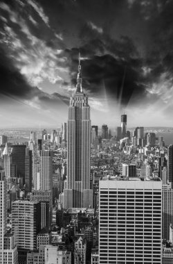 Black and White Skyline of Manhattan with office buildings skysc