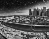 zimní barvy brooklyn Bridge - new york city