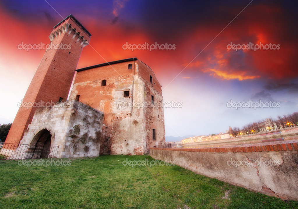 Pisa. Wonderful view at sunset of ancient Citadel Tower