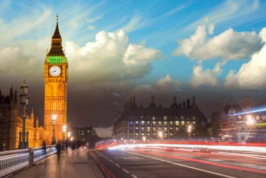 Beautiful colors of Big Ben from Westminster Bridge at Sunset -