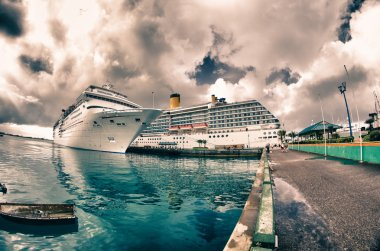 Anchored Cruise Ship in a Port of Call