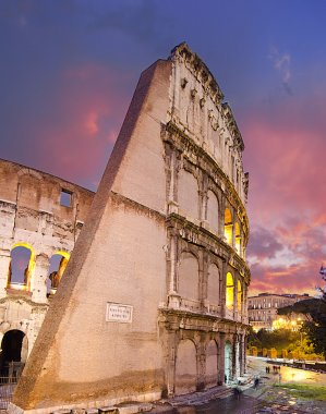 Colors of Colosseum at Sunset in Rome