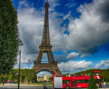 Paris, La Tour Eiffel. Beautiful view of famous tower from Champ