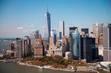 New York. Stunning helicopter view of lower Manhattan Skyline on