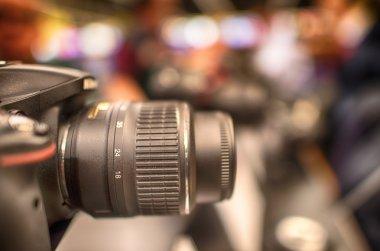 Modern Camera inside a city electronics shop