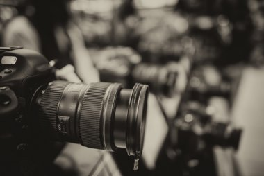 Modern camera and Lens on a photography shop