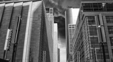 Black and White view of Houston Buildings