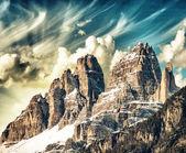 Fotografie vysoké vrcholy Dolomit. Italské Alpy scénář na zimní slunce