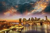 Fotografie New york city - panorama Manhattanu v zimě slunce