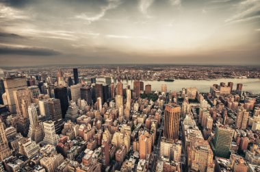 New York City. Wonderful Manhattan skyscrapers aerial view from