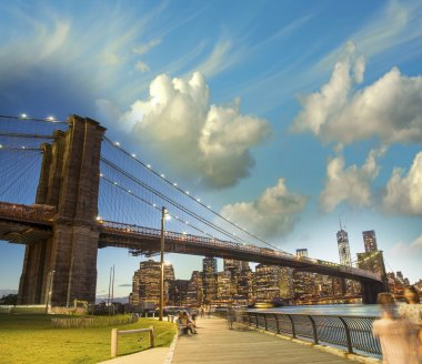 The Brooklyn Bridge in New York. Evening colors in summer