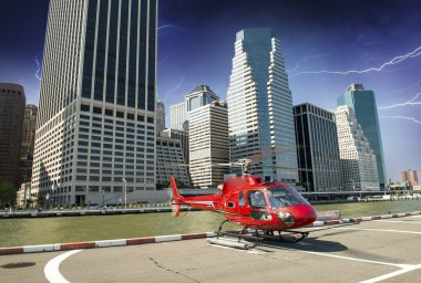Red Helicopter ready to take off in New York Night