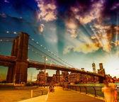Fotografie relaxaci v brooklyn bridge parku na letní slunce. krásné nové