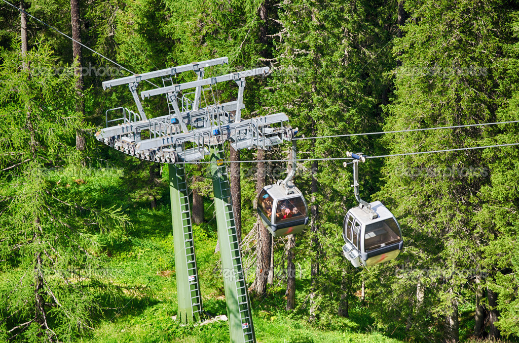 Cable car in the middle of Dolomites - Italian Alps