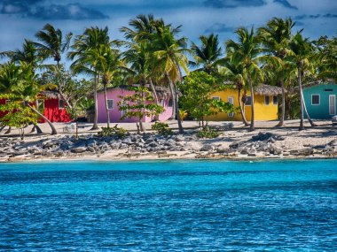 Caribbean Beach with quintessential colorful homes