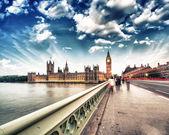 Fotografie Londýn. západ slunce přes most westminster