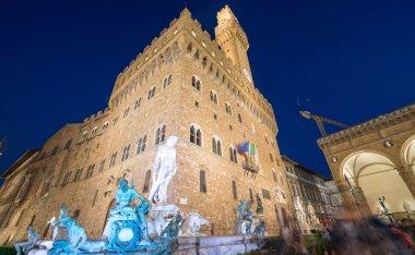 Piazza della Signoria at night in Florence, wide angle view. stock vector