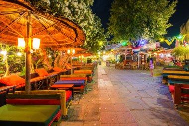 City streets at night at Kos island