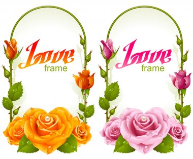Vector rose frames. Wedding, Birthday or Valentine day vertical banners isolated on white background