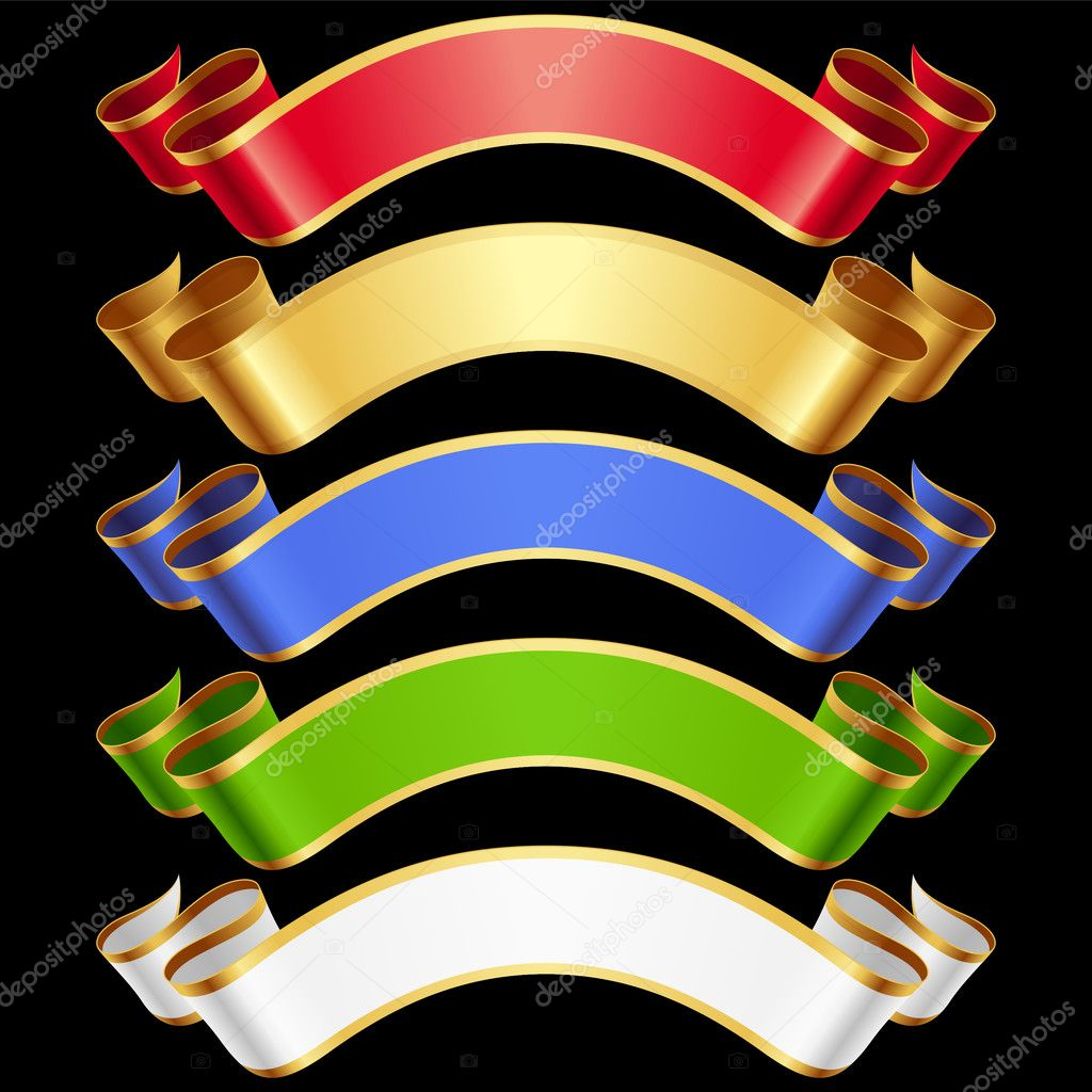 Vector Ribbons set. Multicolored banners isolated on black background