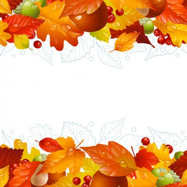 Vector autumn background with fall leaf, chestnut, acorn and ash