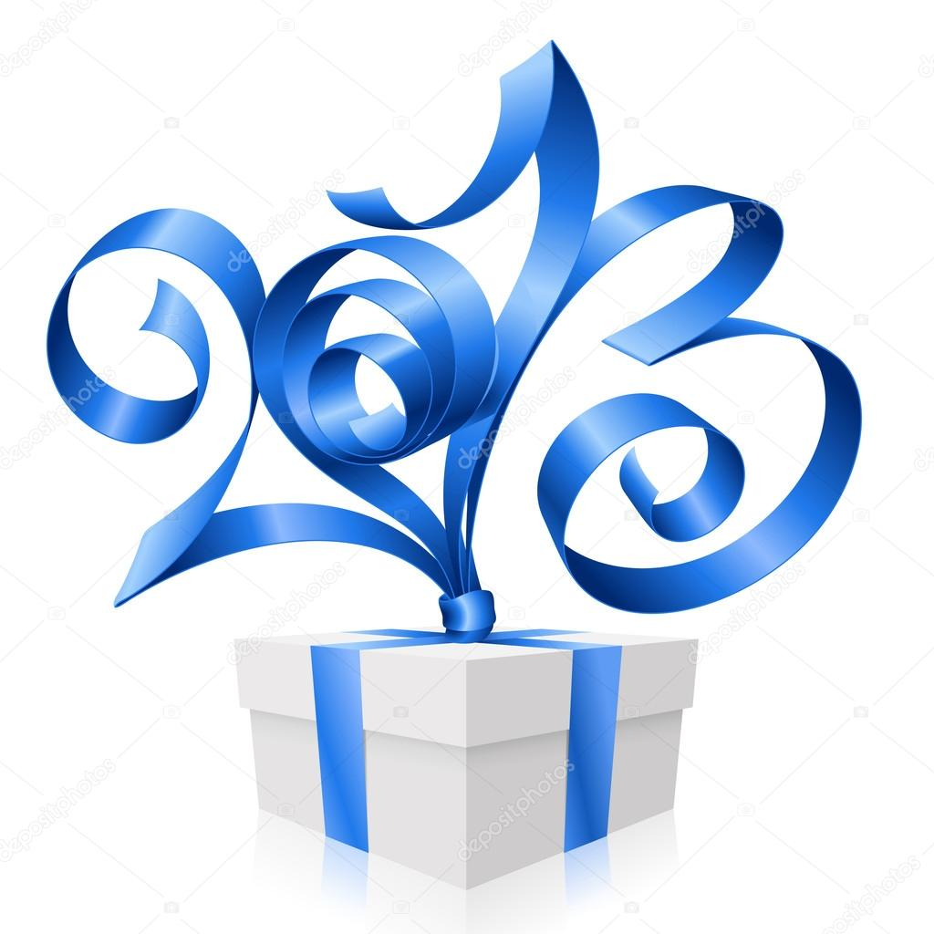 Vector Blue Ribbon In The Shape Of 2013 And Gift Box Symbol Of